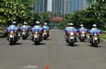 Female police from Jakarta's Harley-mounted brigades mobile (BM)